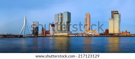 Modern Rotterdam Skyline Panorama, The Netherlands - stock photo