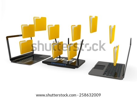 Modern Router with foldes and Laptops on a white background - stock photo