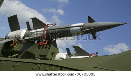 Modern Russian anti-aircraft missiles  5V27DE against the sky - stock photo