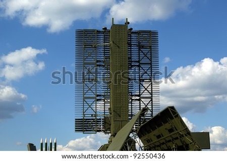 Modern Russian radar is designed  and automatic tracking of targets and missiles - stock photo