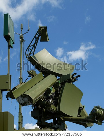 Modern Russian UNV-2V radar is designed  and automatic tracking of targets and missiles - stock photo