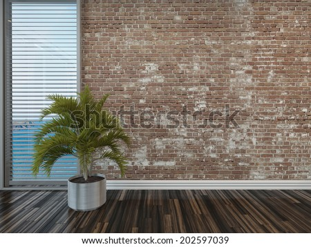 Modern rustic face brick interior decor with an empty room with a potted palm on a wooden parquet floor in front of a window with blinds overlooking the sea - stock photo