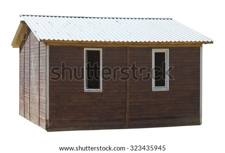 Modern rustic style- wooden village shed  with an aluminum roof. Sunny day.Isolated - stock photo