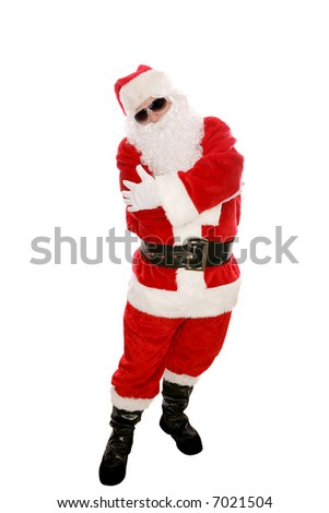 Modern Santa Claus posing in sunglasses and doing a hip hop dance move. Full body isolated on white. - stock photo