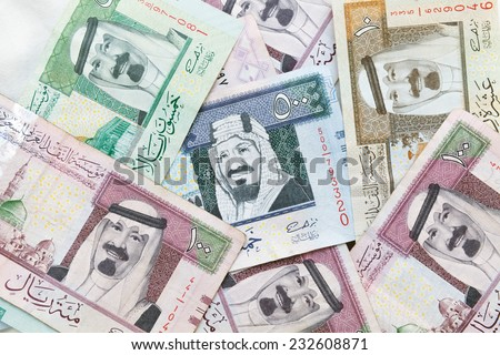 Modern Saudi Arabia money, banknotes closeup background photo texture - stock photo