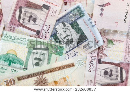 Modern Saudi Arabia money, banknotes detailed background photo texture - stock photo