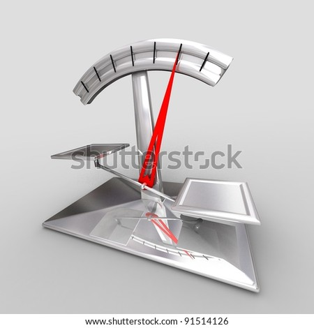 Modern scale on gray background. 3d render - stock photo