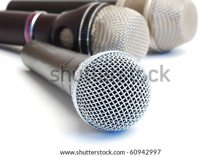 Modern scenic microphones on a white background - stock photo