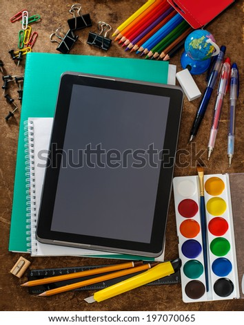 Modern school background with tablet - stock photo