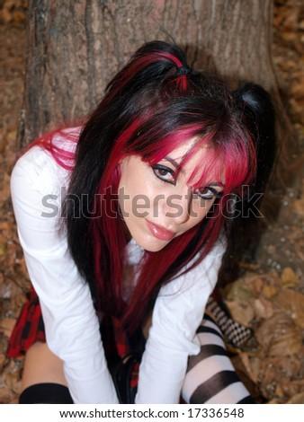 Modern schoolgirl - stock photo