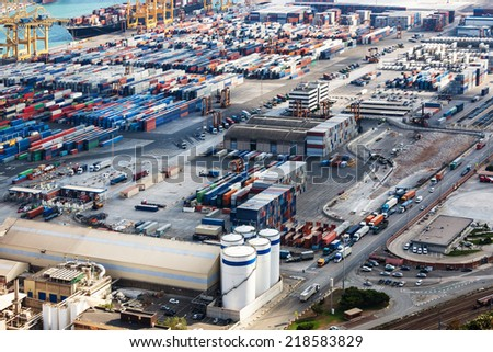 modern seaport on a sunny day - stock photo