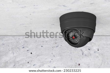 Modern Security Camera on the Ceiling - stock photo