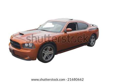 modern sedan muscle car isolated on white - stock photo