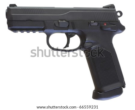 Modern semi-automatic handgun that has been isolated on white