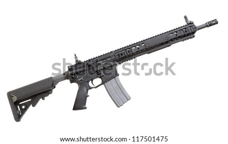 Modern semi automatic rifle that is isolated on a white background - stock photo