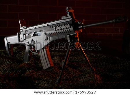 Modern semi automatic rifle that is on a bipod - stock photo