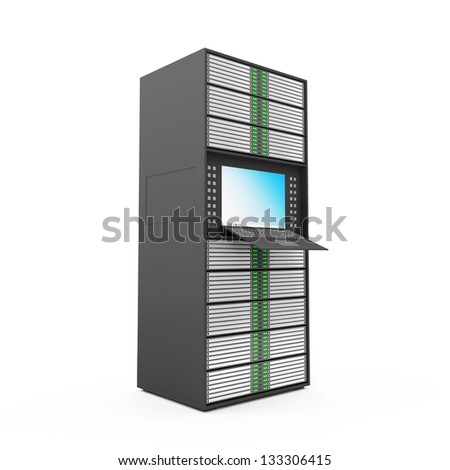 Modern Server Rack isolated on white background - stock photo