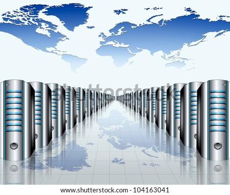 modern server room - stock photo