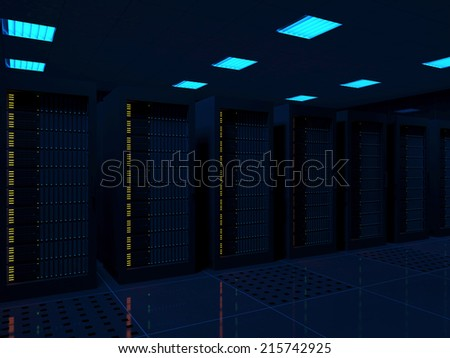 Modern Server Room Interior with Neon Lights - stock photo