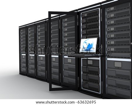 Modern server-room, one row (done in 3d) - stock photo
