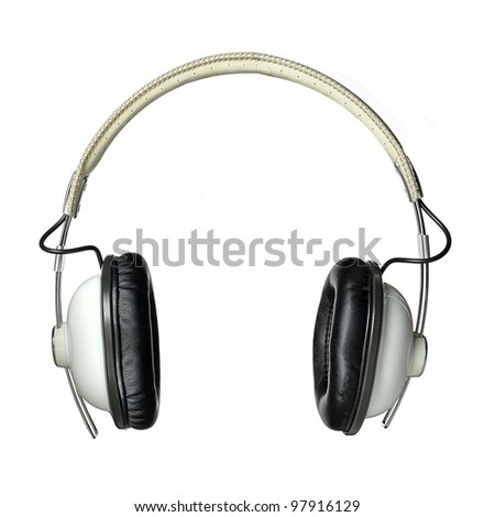 Modern set of white over-the-ear headphones iolated on a white background - stock photo
