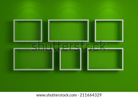Modern shelf on a wall, 3d rendered composition. - stock photo