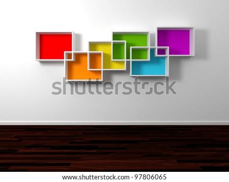 Modern shelves.3d rendered. - stock photo