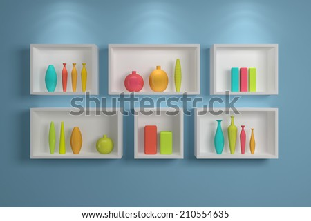 Modern shelves on wall with colorful pottery.