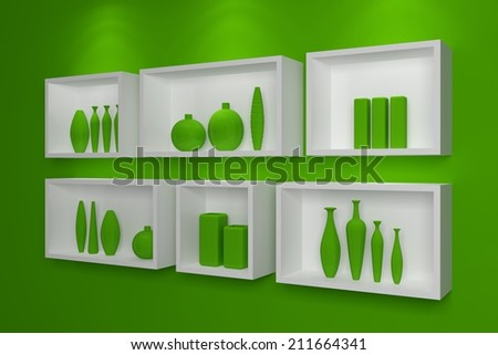Modern shelves on wall with colorful pottery. - stock photo