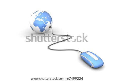 modern shiny blue computer mouse connected to a shiny blue globe - stock photo