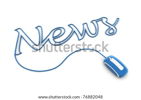 modern shiny blue computer mouse is connected to the glossy blue word NEWS - letters a formed by the mouse cable - stock photo
