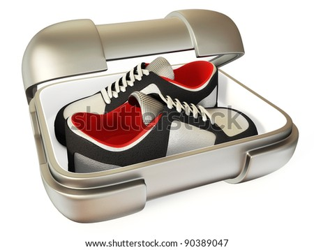 modern shoes in steel box isolated on a white - stock photo