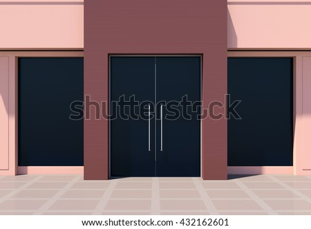 Modern shopfront with large doors and windows 3D rendering - stock photo