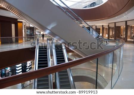Modern shopping center architecture interior - stock photo