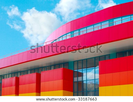Modern shopping center. Exterior of the local commercial store - stock photo