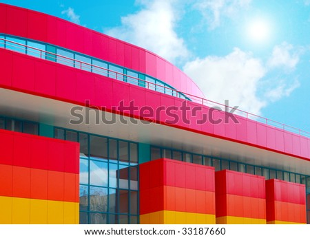 Modern shopping centre. Front view of commercial store - stock photo