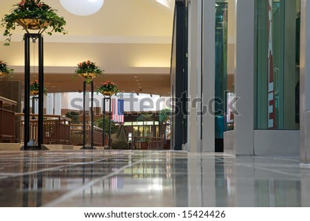 modern shopping mall with no people present - stock photo