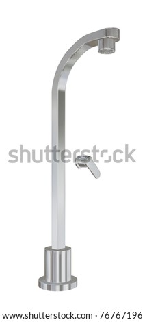 Modern shower fixtures with chrome finishing, 3d illustration, isolated against a white background