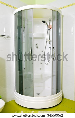 Modern shower with opened screen - stock photo