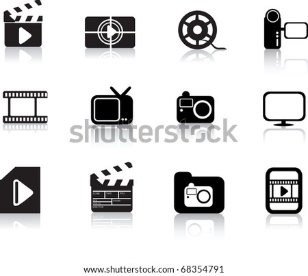 modern silhouette black icon set of photo, video and multimedia symbols