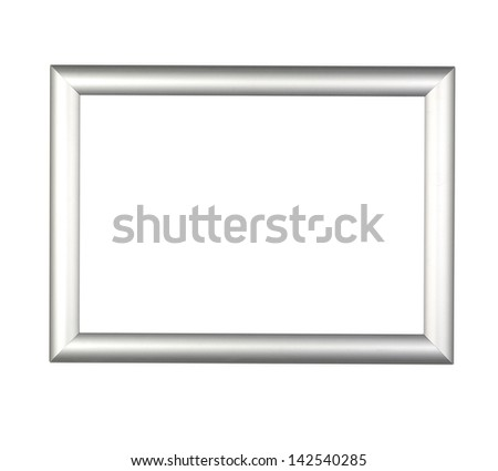 Modern silver Frame on white ( clipping path) - stock photo
