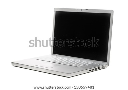 modern silver laptop isolated on white background