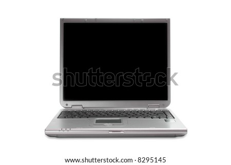 Modern silver laptop with black screen isolated on white with clipping path - stock photo