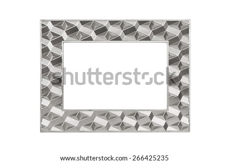 Modern silver picture frame isolated over white with clipping path. - stock photo