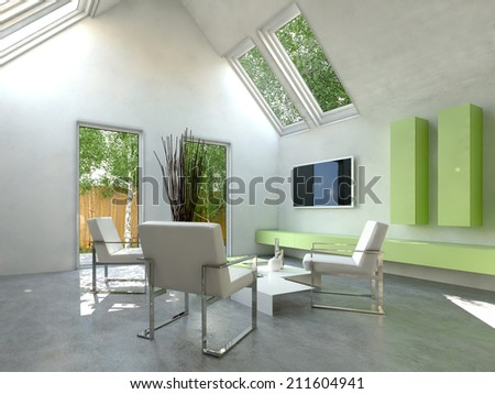 Modern simple cottage living room interior with modern chairs grouped around a low coffee table and a wall-mounted television and green cabinets with skylight windows and a door onto a small yard - stock photo
