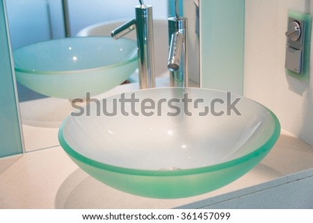 Modern sink in the bathroom - stock photo