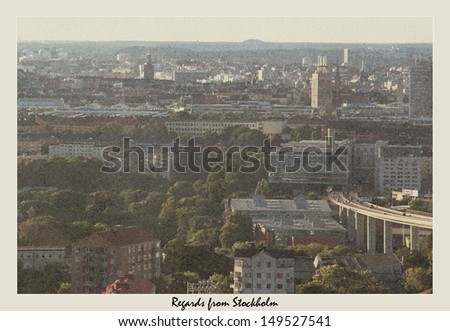 Modern skyline of Stockholm, Sweden made to look like an old postcard from the 60's - stock photo