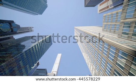 modern skyscraper buildings panorama view. business city district background. economy financial growth development   - stock photo