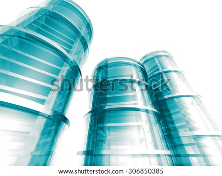 Modern Skyscraper Buildings Steel Glass Design. 3d Render Illustration - stock photo