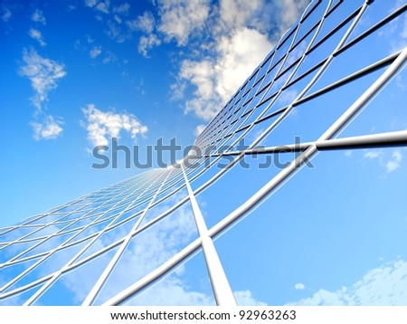 Modern skyscraper on cloudscape background - stock photo